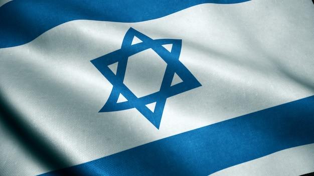 Animação 3d da bandeira de israel.