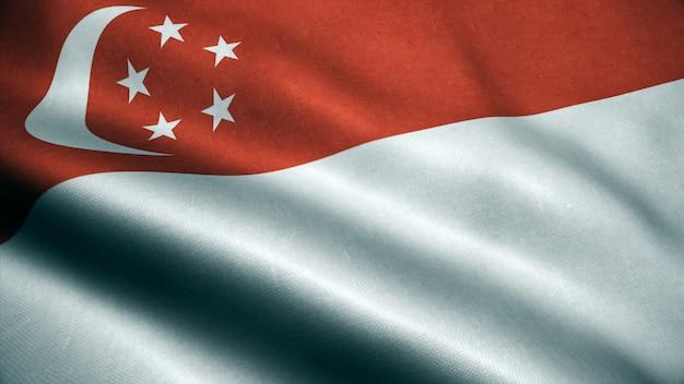 Animação 3d da bandeira de singapura. realista bandeira de singapura acenando no vento.