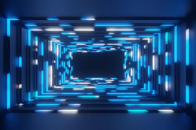 Animação abstrata néon quadro azul fundo do túnel renderização em 3d