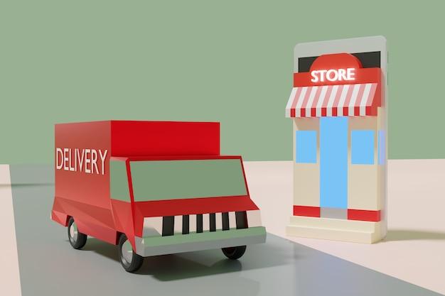 Animação de compras on-line e-commerce, loja, caixa e caminhões de entrega em smartphone, renderização em 3d