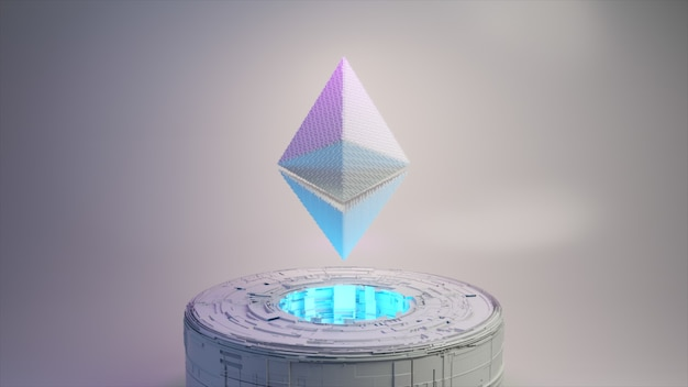 Animação de pixel do logotipo do símbolo da moeda ethereum com iluminação de néon. ilustração 3d da moeda ethereum
