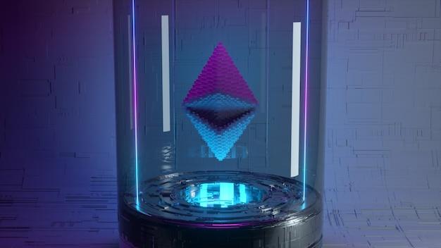 Animação de pixel do logotipo do símbolo da moeda ethereum em cápsula de vidro com iluminação de néon. ilustração 3d ethereum coin