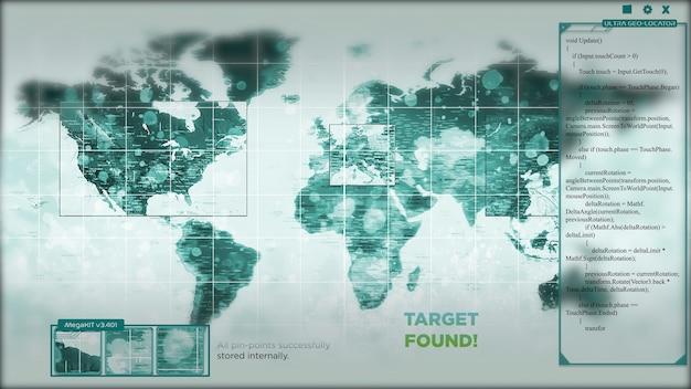 Animação de um mapa-múndi com hackers mirando pontos nele. a interface ou hud está exibindo o alvo encontrado no final