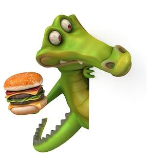 Animação divertida de crocodilo