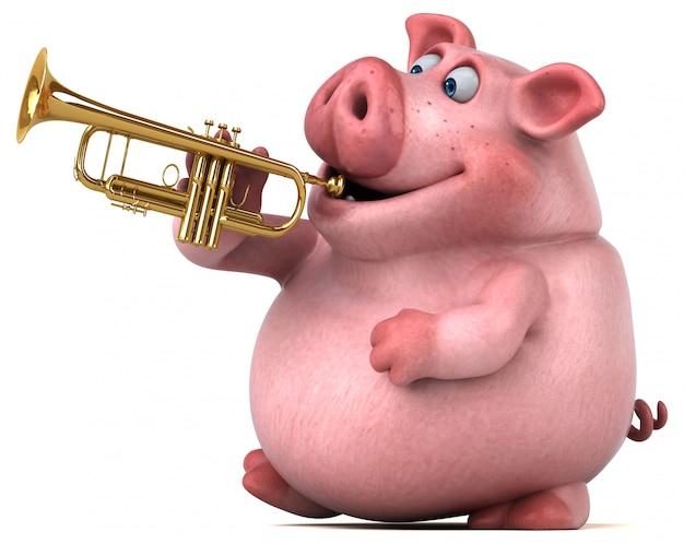 Animação divertida de porco