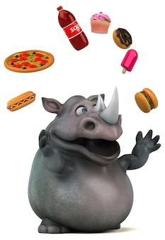 Animação divertida de rinoceronte