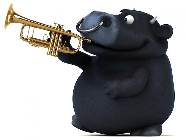 Animação divertida de touro preto