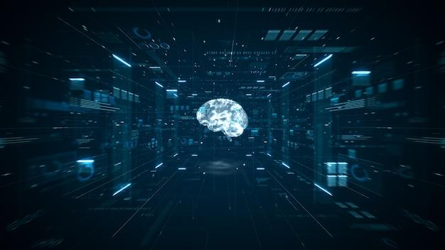 Animação do cérebro de inteligência artificial. máquina de computador de aprendizagem profunda de big data do cérebro digital. conceito de grande volume de dados de animação. análise de fluxo de big data. cérebro digital de inteligência artificial. renderização 3d.