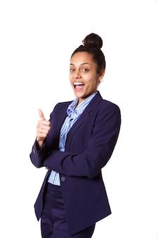 Animado, jovem, africano, executiva, mostrando, polegares cima