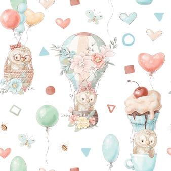 Animais bonitos dos desenhos animados de padrão sem emenda voam em um balão de ar quente