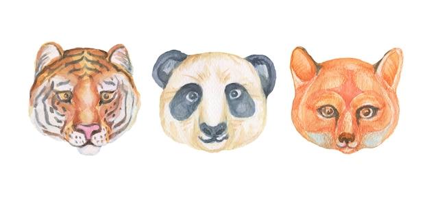 Animais dos desenhos animados bonitos focinhos estilo escandinavo. ilustração desenhada à mão de crianças. conjunto de aquarela. padrão uniforme. imprimir realismo têxtil