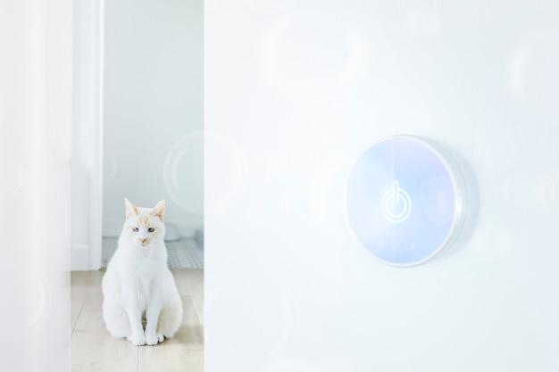 Animal de estimação inteligente e fundo de tecnologia de casa inteligente