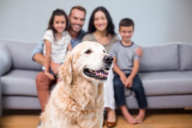 Animal de estimação na sala de estar e família sentada no sofá