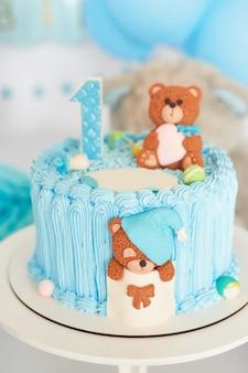 Aniversário 1 ano cake smash decor blue color