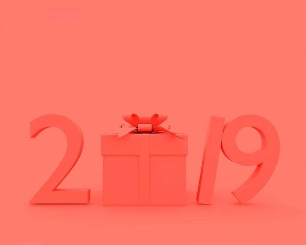 Ano novo 2019 conceito cor-de-rosa