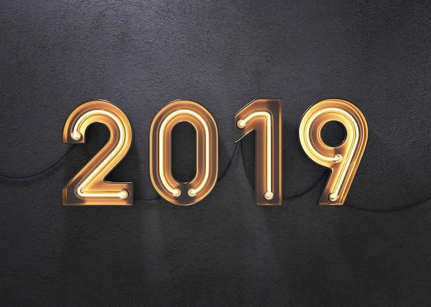 Ano novo, 2019, feito, de, néon, alfabeto