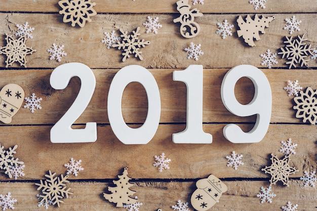 Ano novo, 2019, ligado, madeira, marrom, natal, fundo, com, snowflakes