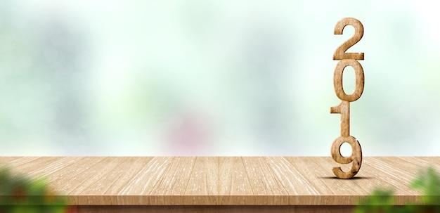 Ano novo 2019 número de madeira (renderização 3d) na mesa de madeira no borrão bokeh verde abstrato