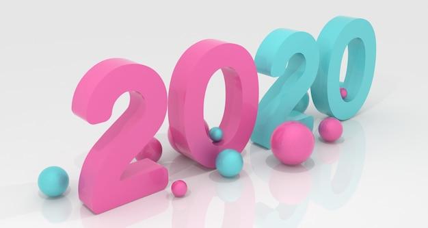 Ano novo 2020 renderização em 3d