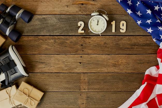 Ano novo, bandeira, américa, ligado, madeira