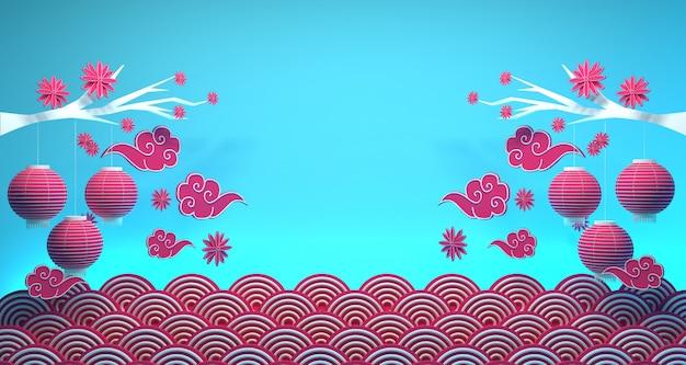 Ano novo chinês banner fundo renderização em 3d