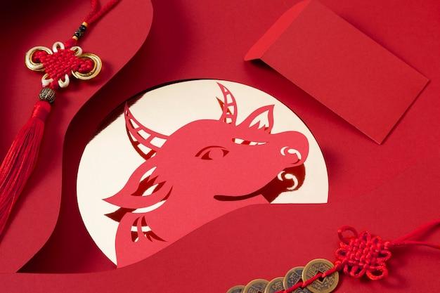Ano novo chinês com conceito de boi