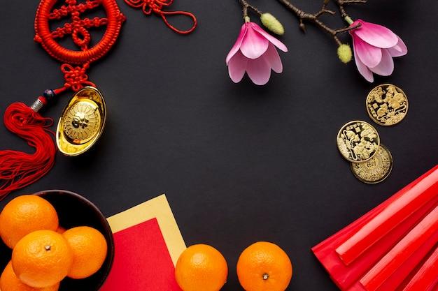 Ano novo chinês de magnólia e tangerinas