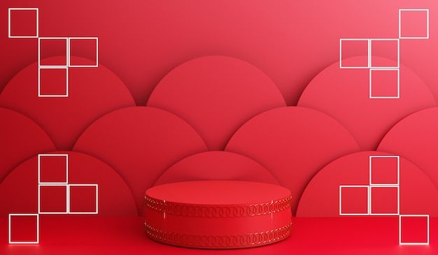 Ano novo chinês, display dourado de pódio em fundo abstrato vermelho