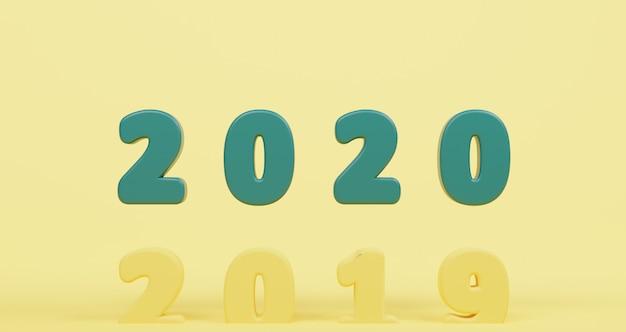 Ano novo conceito. feliz ano novo verde 2020 sobe acima de 2019 por mudar o ano. pastel amarelo