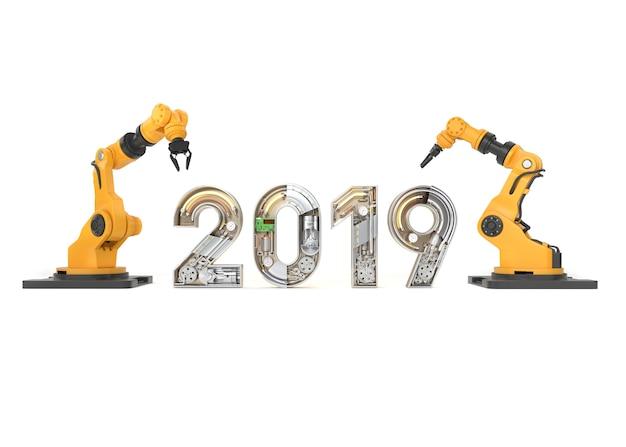 Ano novo de 2019 feito de alfabeto mecânico com braço robótico