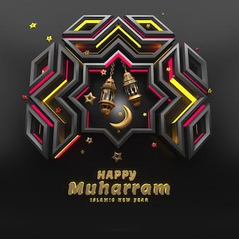 Ano novo islâmico em renderização 3d realista Foto Premium