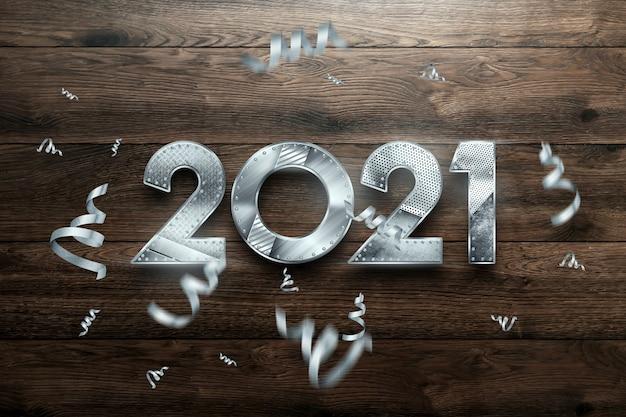 Ano novo letras 2021 com números de metal em fundo de madeira.