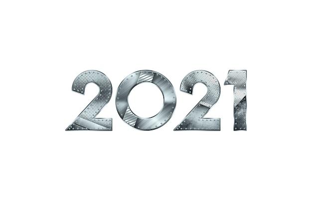 Ano novo letras 2021 com números de metal isolados no fundo branco.