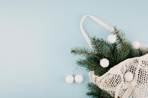 Ano novo natal plana leigos composição vista superior.