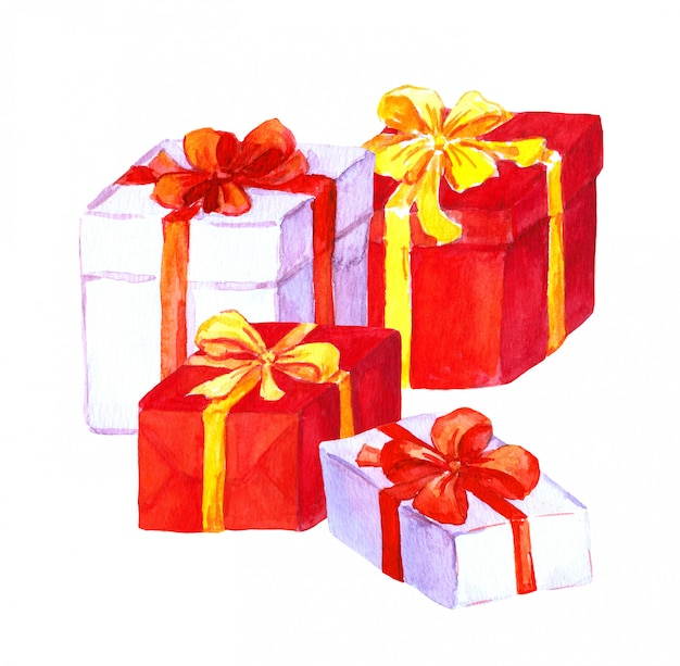 Ano novo, presentes de natal. caixas vermelhas e brancas