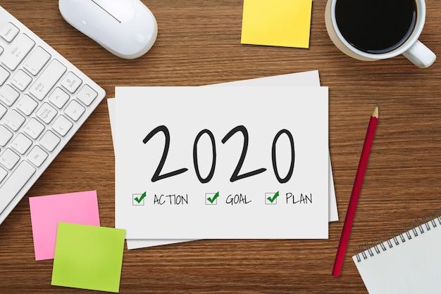 Ano novo resolução lista de objetivos 2020 estabelecimento de metas