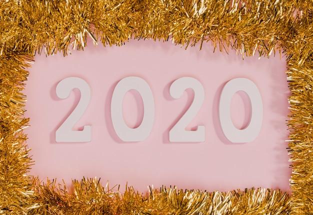 Ano novo sinal com moldura ouropel