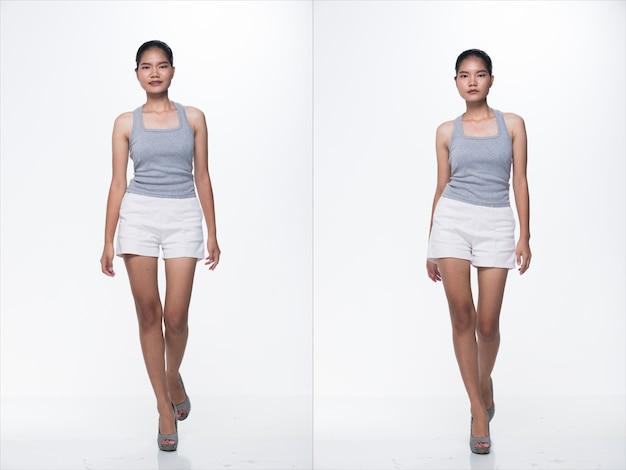 Anos 20 moda jovem mulher asiática magra pele bronzeada cabelo bonito maquiagem moda cinza vasto calça curta branca posando. iluminação de estúdio branco isolado fundo, pacote de colagem de grupo andando com sapatos de salto alto