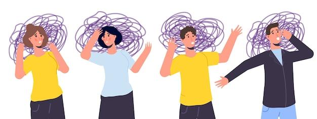 Ansioso, depressão. saúde mental, ansiedade, conceito de autoengano. ilustração vetorial plana Foto Premium