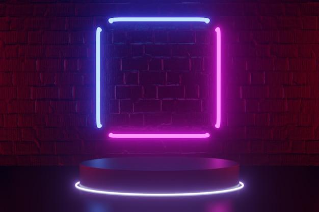 Antecedentes de produtos digitais. a luz quadrada e o pódio do cilindro redondo preto com anel de círculo de luz led refletem no fundo de tijolos vermelhos escuros. renderização de ilustração 3d.