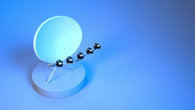 Antena parabólica close-up com iluminação neon azul e roxa, ilustração 3d