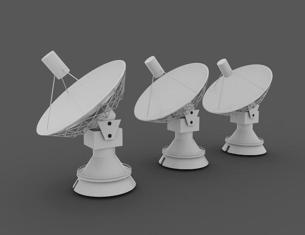 Antena parabólica . conceito de ciência 3d. ilustração 3d renderizada