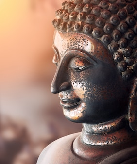 Antiga estátua de bronze de buda