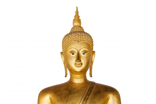 Antiga estátua de buda dourado isolada