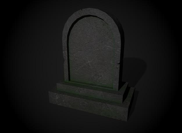 Antiga lápide de terror no fundo, renderização em 3d