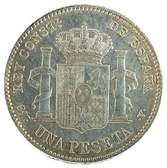 Antiga moeda de prata espanhola do rei alfonso xiii.