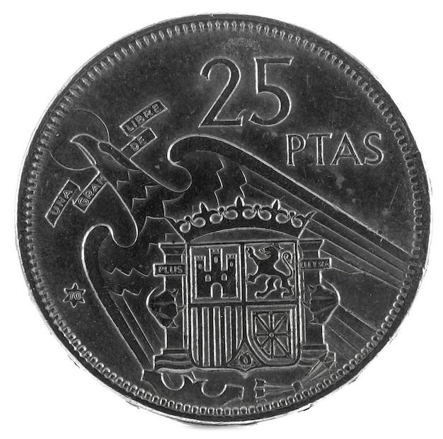Antiga moeda espanhola de 25 pesetas,