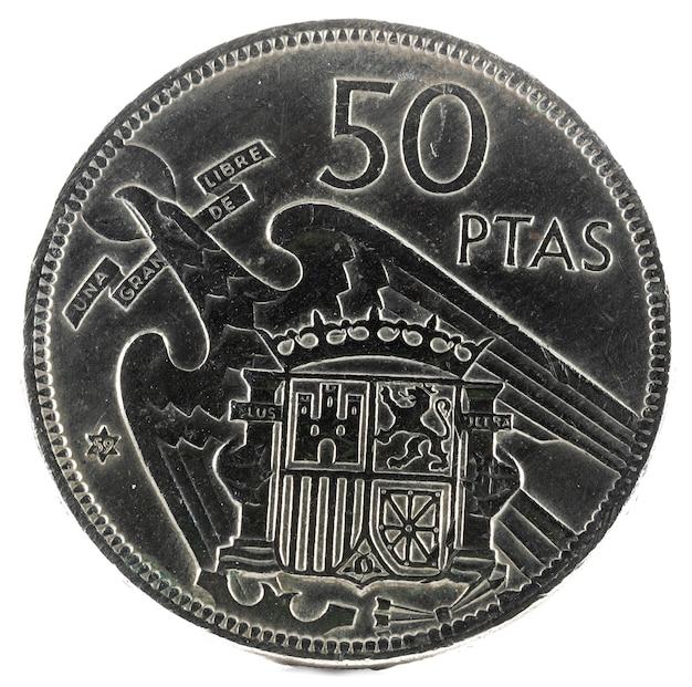 Antiga moeda espanhola de 50 pesetas, francisco franco. ano 1957, 59 na estrela. reverter.