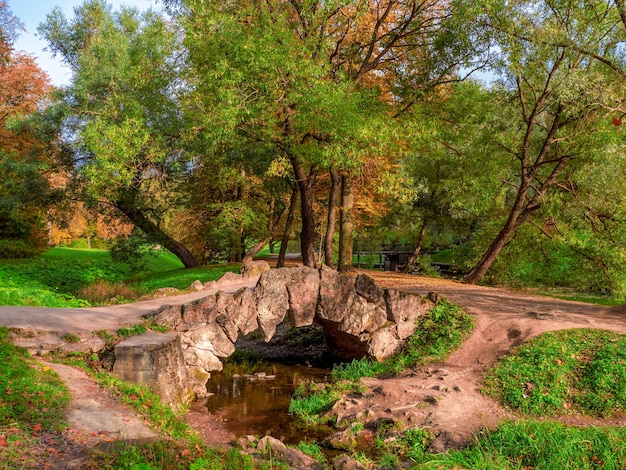 Antiga ponte de pedra no verão parque pavlovsky, são petersburgo, rússia.