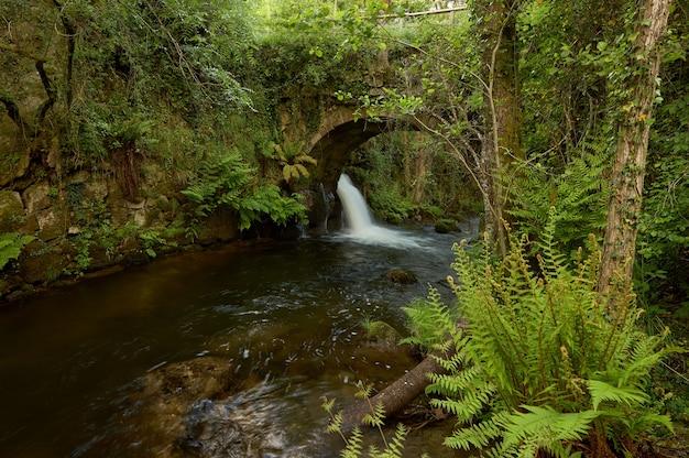 Antiga ponte sobre um pequeno rio chamado o peilan, na região da galiza, espanha.